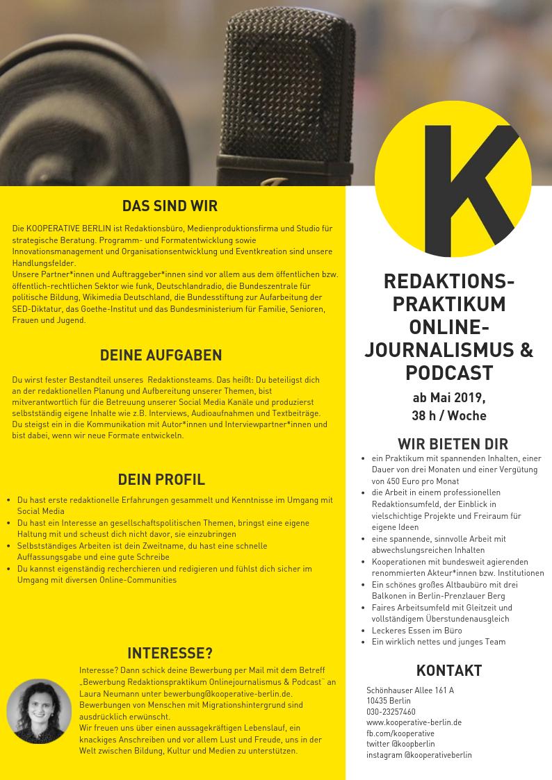 praktikum redaktionspraktikum journalismus onlinejournalismus podcast podcasts